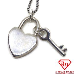Heart and Key charm pendant .925 Solid Silver